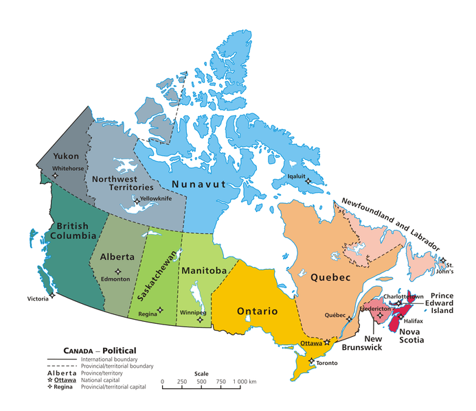 Map of the provinces of Canada and territories